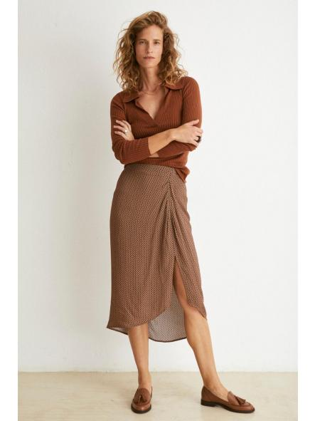 Falda midi estampado corbatero tissue
