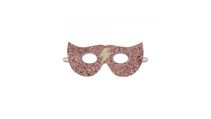 Máscara rosa glitter super hero