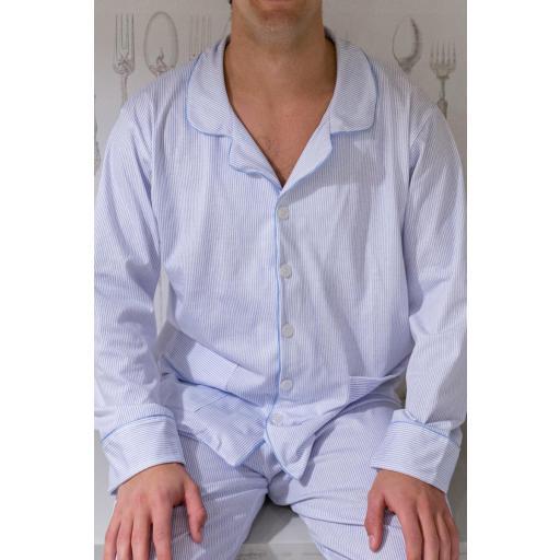 Pijama Hombre Raya Azul