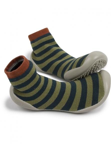 Zapatillas para casa- Modelo rayas verdes