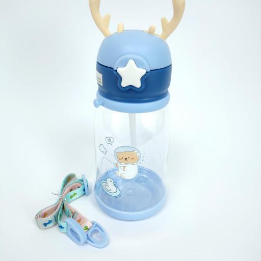 Botella de agua con pajita bear star 450ml