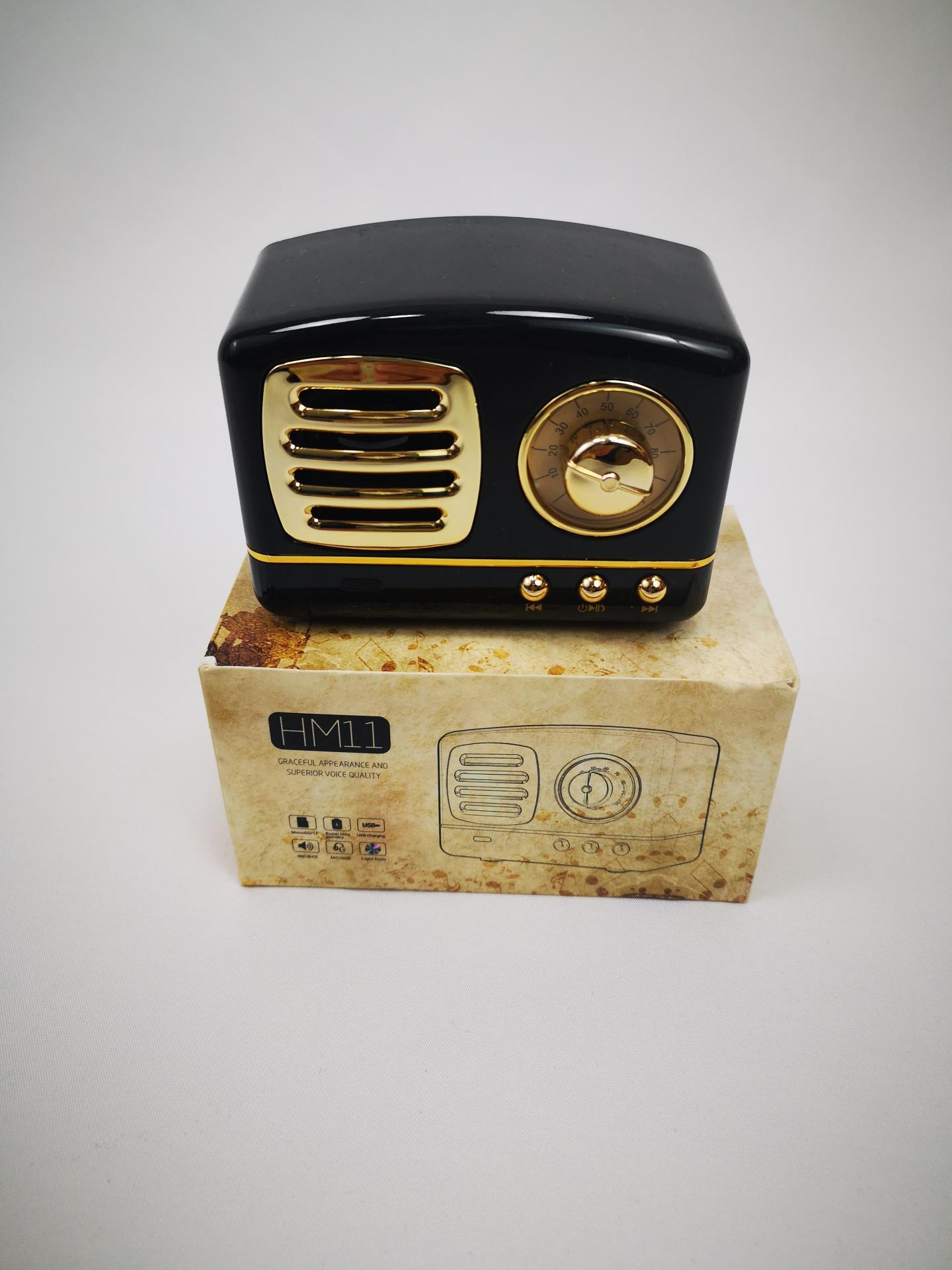 Altavoz Bluetooth con forma de radio vintage, Radio FM, MicroSD, USB