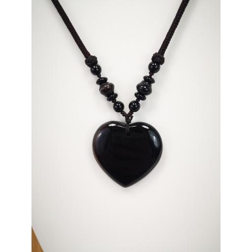 Collar  corazón de cuarzo negro [2]