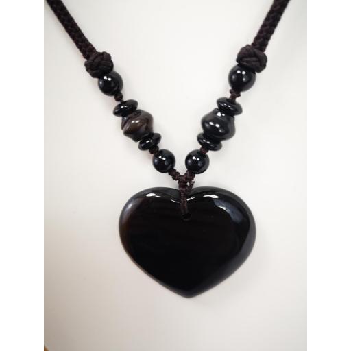 Collar  corazón de cuarzo negro [1]