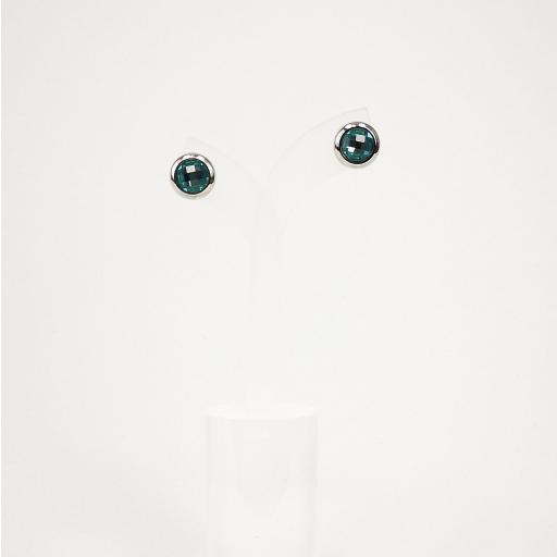 Pendientes acero con circonita azul [1]