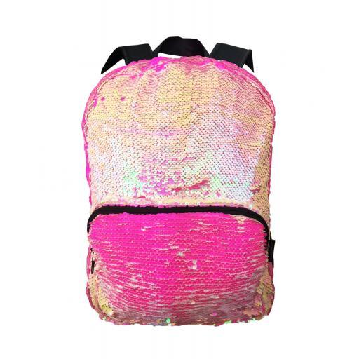Mochila lentejuelas rosa-fucisa