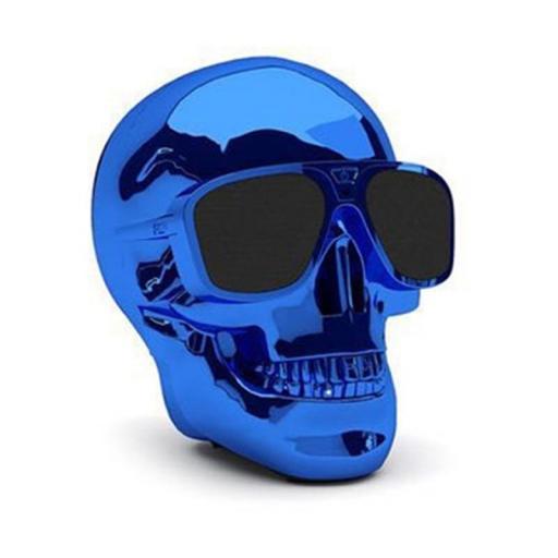 Altavoz inalámbrico con Bluetooth Calavera azul con gafas