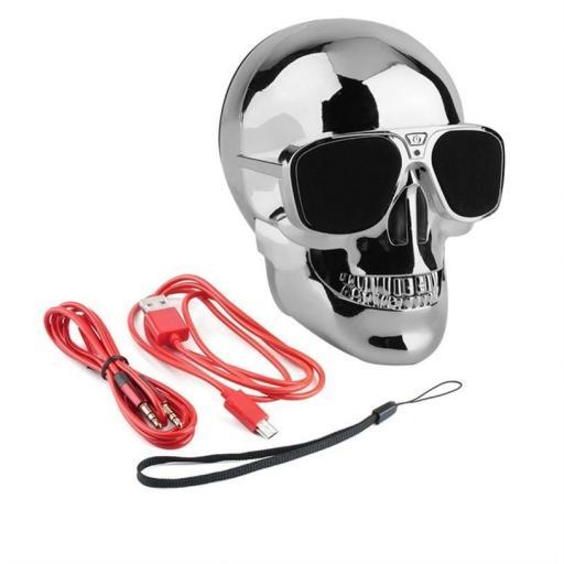 Altavoz inalámbrico con Bluetooth Calavera plata con gafas