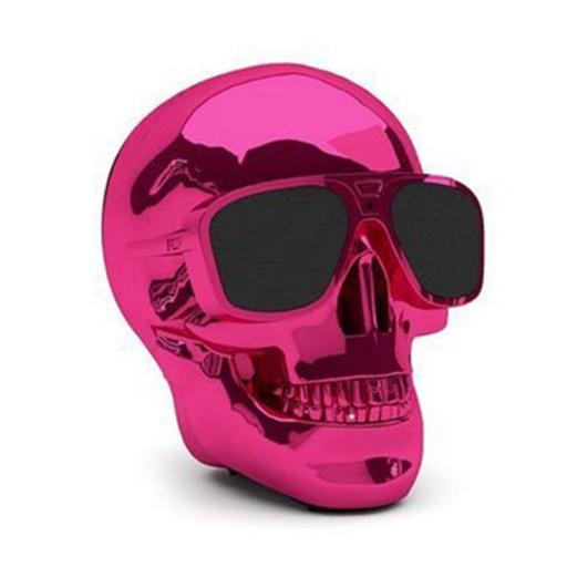 Altavoz inalámbrico con Bluetooth Calavera rosa con gafas [0]