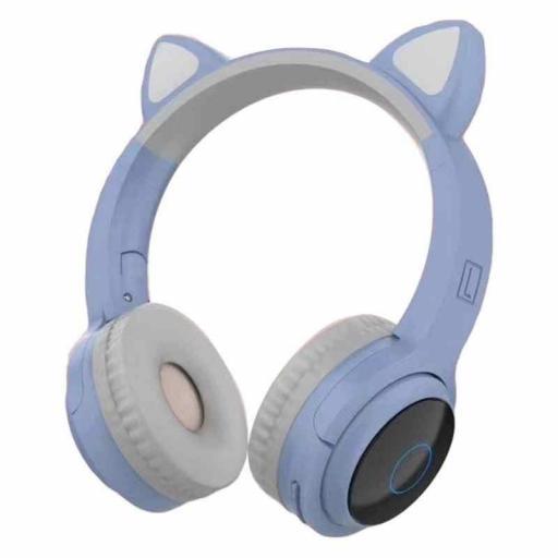 Auriculares gatito azul con luz led en las orejas.