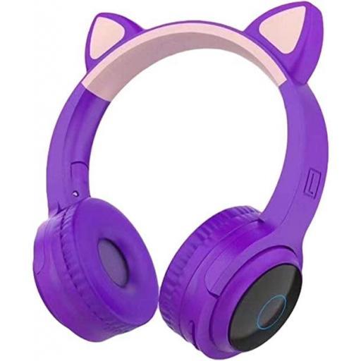 Auriculares gatito morado con luz led en las orejas.
