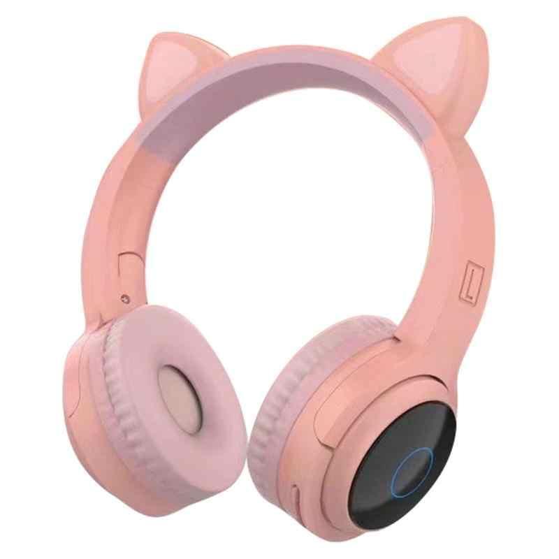 Auriculares gatito rosa con luz led en las orejas.
