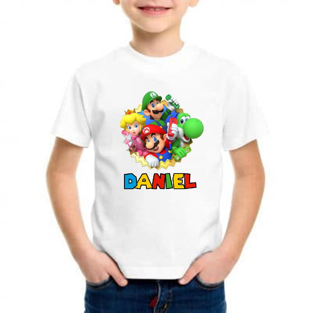Camiseta niño mario bros personalizada con nombre