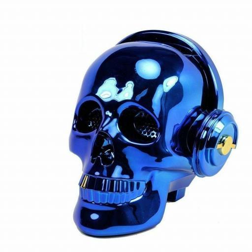 Altavoz inalámbrico con Bluetooth Calavera azul