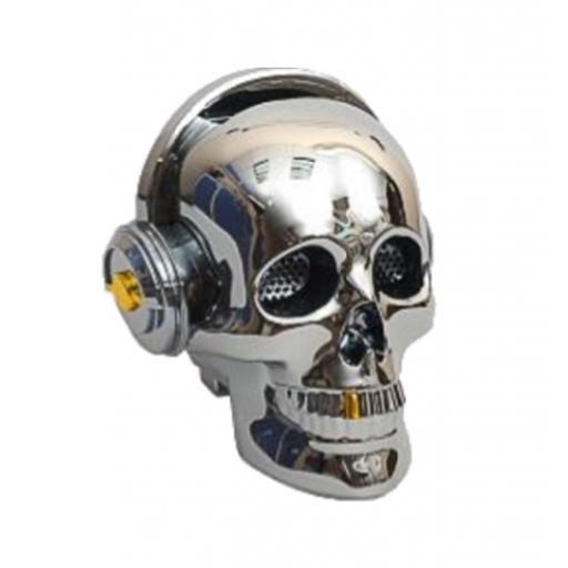Altavoz inalámbrico con Bluetooth Calavera plata