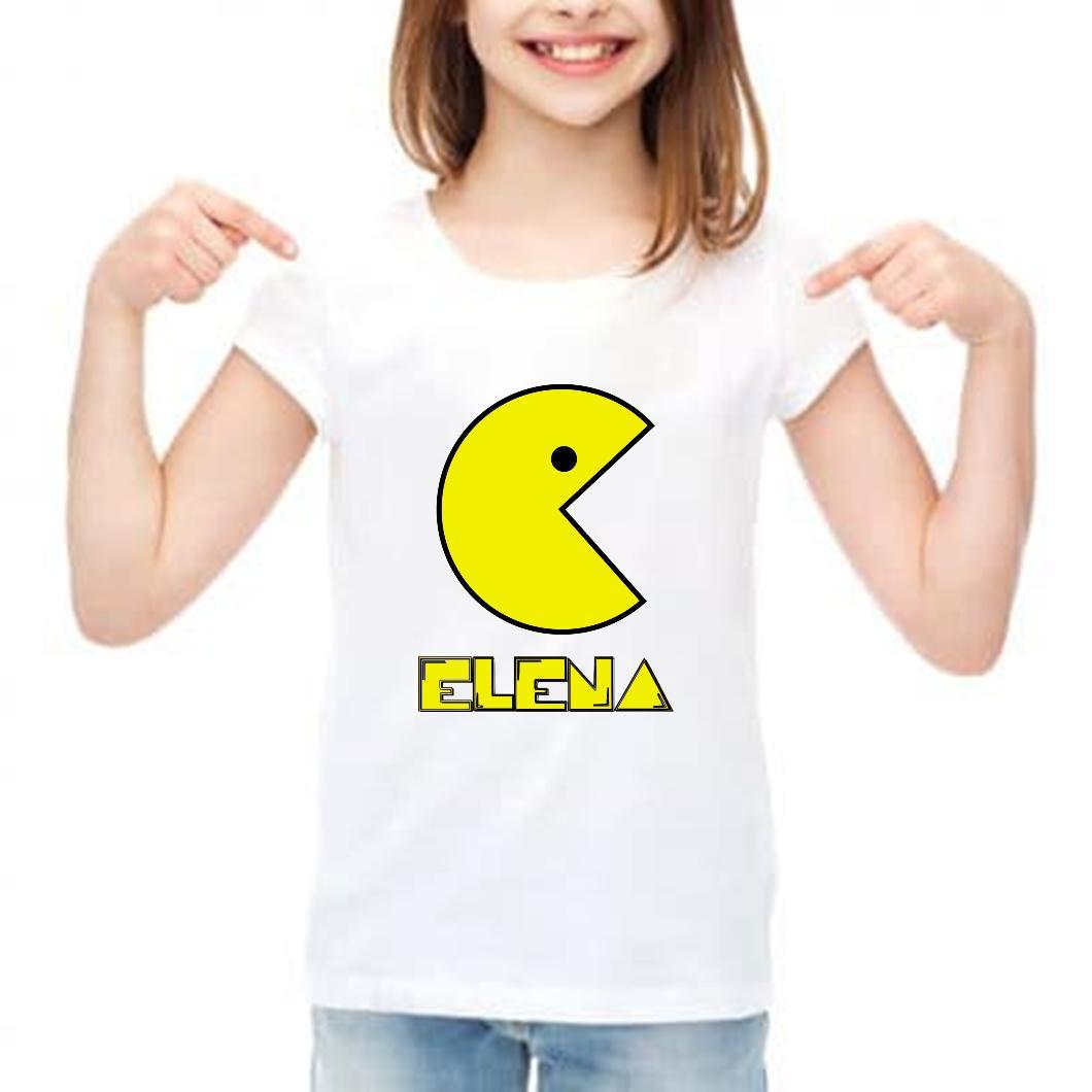 camiseta niña pac man  personalizada