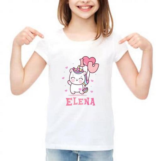 camiseta niña personalizada unicornio