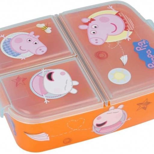 Fiambrera con 3 compartimentos peppa pig