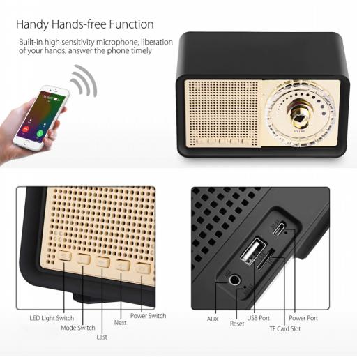 Altavoz Bluetooth con forma de radio vintage, 3 colores,Radio FM, MicroSD, USB [3]