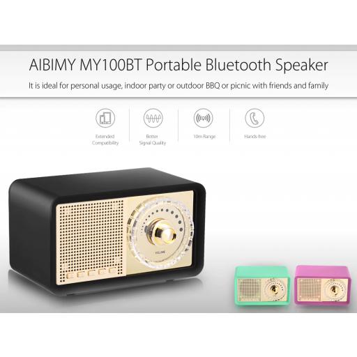 Altavoz Bluetooth con forma de radio vintage, 3 colores,Radio FM, MicroSD, USB [1]