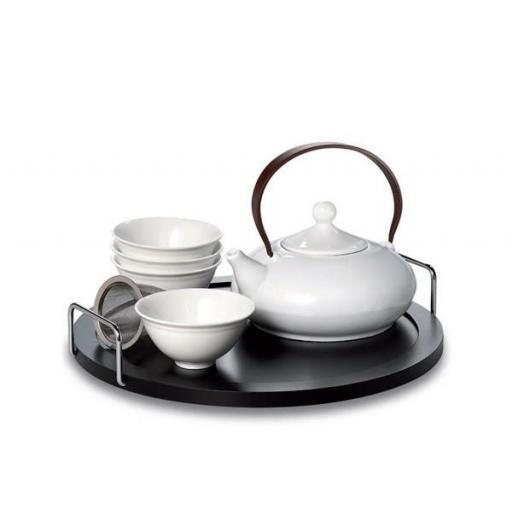 set elea, porcelana tetera + 4 vasos + bandeja