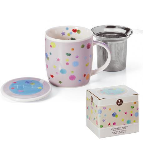 Taza confetti, porcelana 0,32 l. filtro y tapa