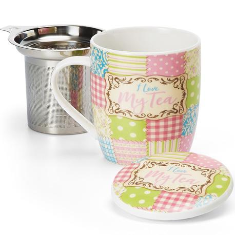 Taza love tea, porcelana 0,32 l. filtro y tapa