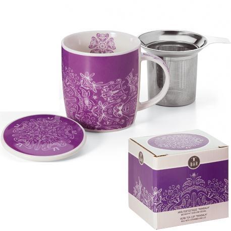 Taza mandala, porcelana 0,32 l. filtro y tapa