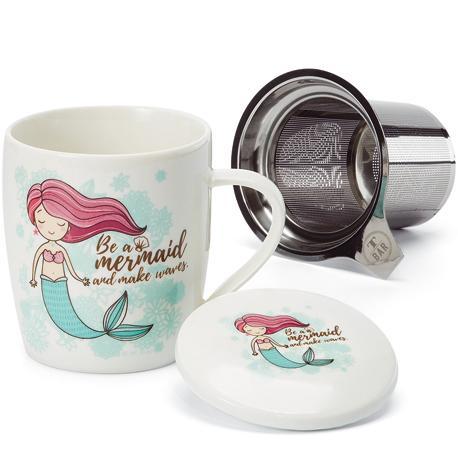 Taza mermaid, porcelana 0,32 l. filtro y tapa
