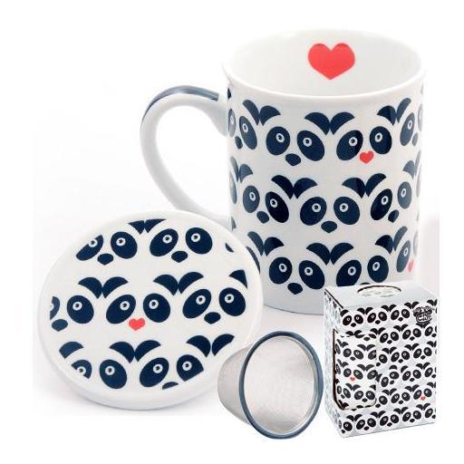 Taza panda, porcelana 0,25 l. filtro y tapa