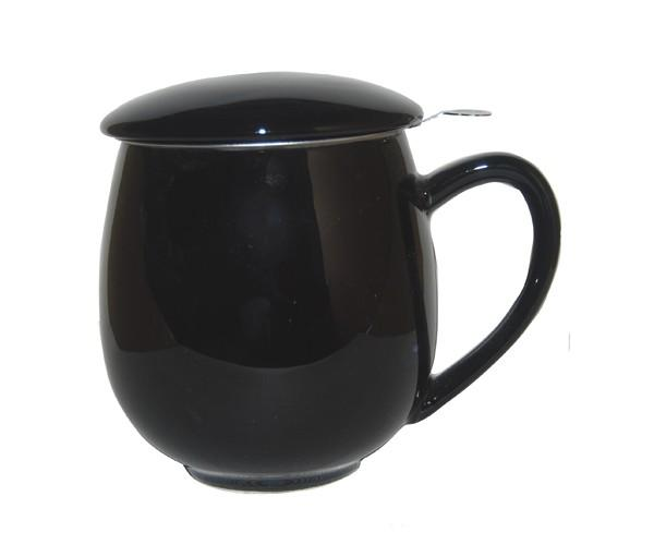 Taza zaara negra, porcelana 0,35 l. filtro y tapa