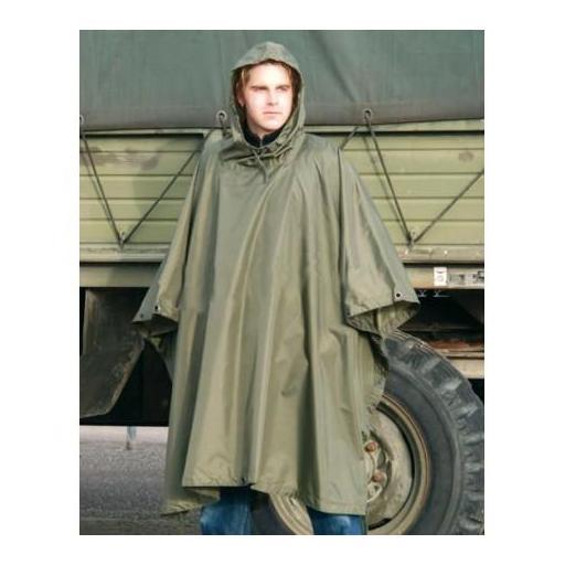 Poncho impermeable militar ligero verde  [0]