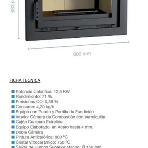 Insertable de leña Marca FM Modelo I-170 sin turbinas [2]