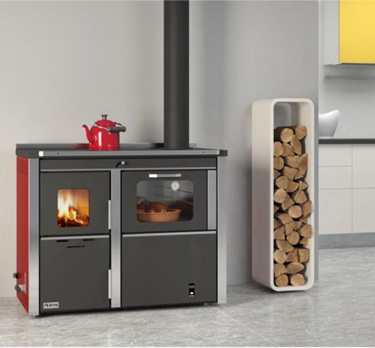 Cocina calefactora de leña 34kw Marca Ifiyl