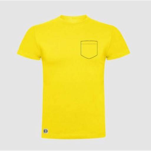 Camiseta unisex bolsillo personalizado color amarillo.