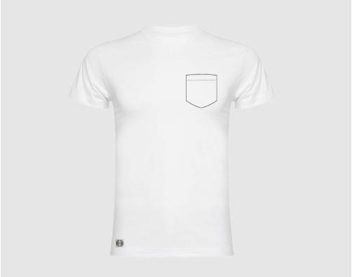 Camiseta niño bolsillo personalizado color blanco.