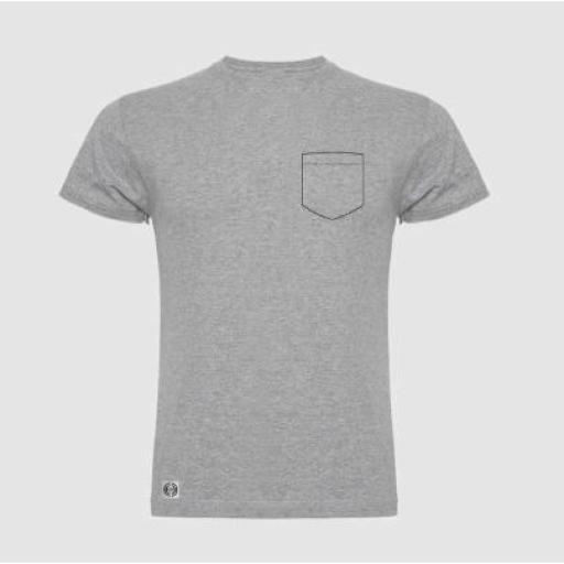 Camiseta unisex bolsillo personalizado color gris.