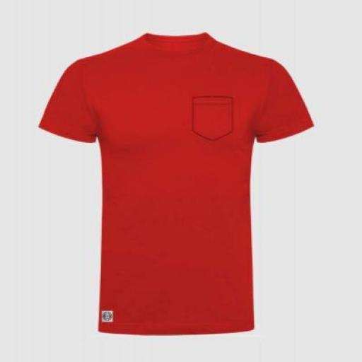Camiseta niño bolsillo personalizado color rojo.
