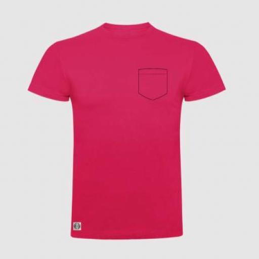 Camiseta unisex bolsillo personalizado color rosetón.