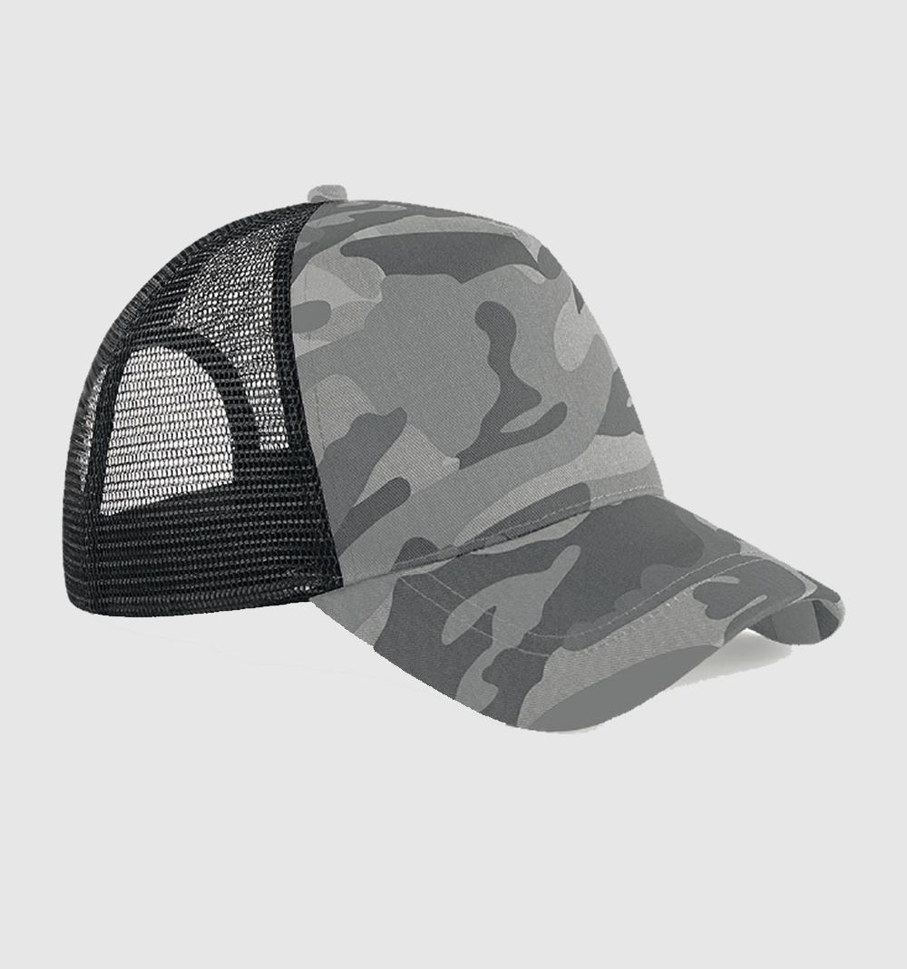 "Gorra bicolor ""parche"" color camuflaje gris / negro."