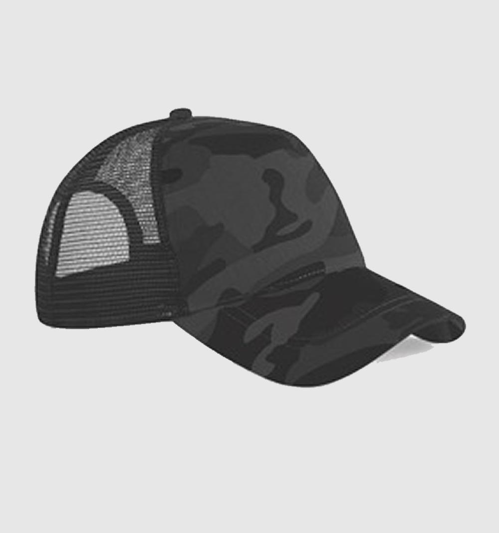 Gorra bicolor color camuflaje negro / negro.