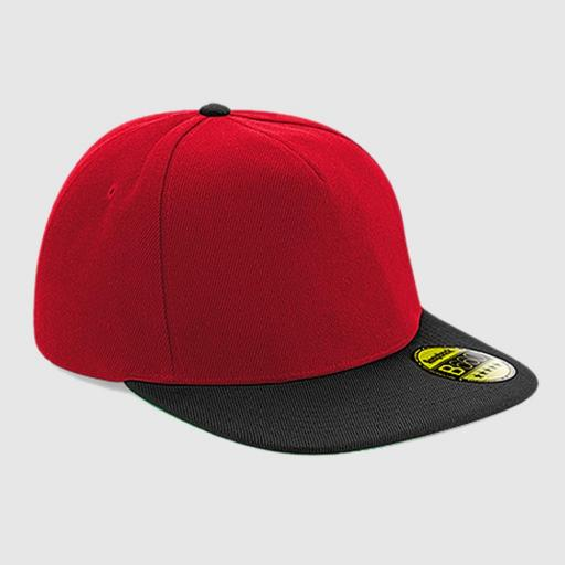 Gorra snapback color rojo-negro.