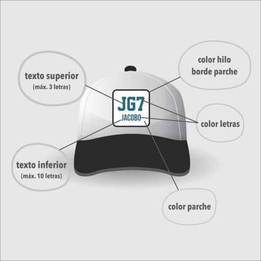 """Gorra bicolor """"parche"""" color negro / blanco. [1]"""