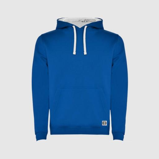 Sudadera capucha bicolor unisex color royal-blanco