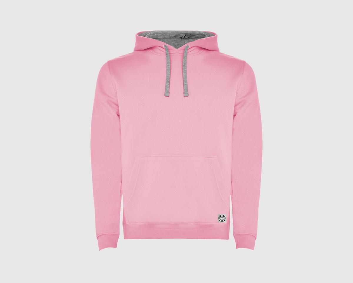 """Sudadera capucha bicolor unisex """"inicial grande"""" color rosa-gris"""