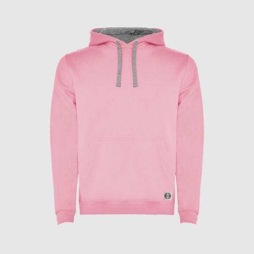 """Sudadera capucha bicolor unisex """"inicial grande"""" color rosa-gris [0]"""