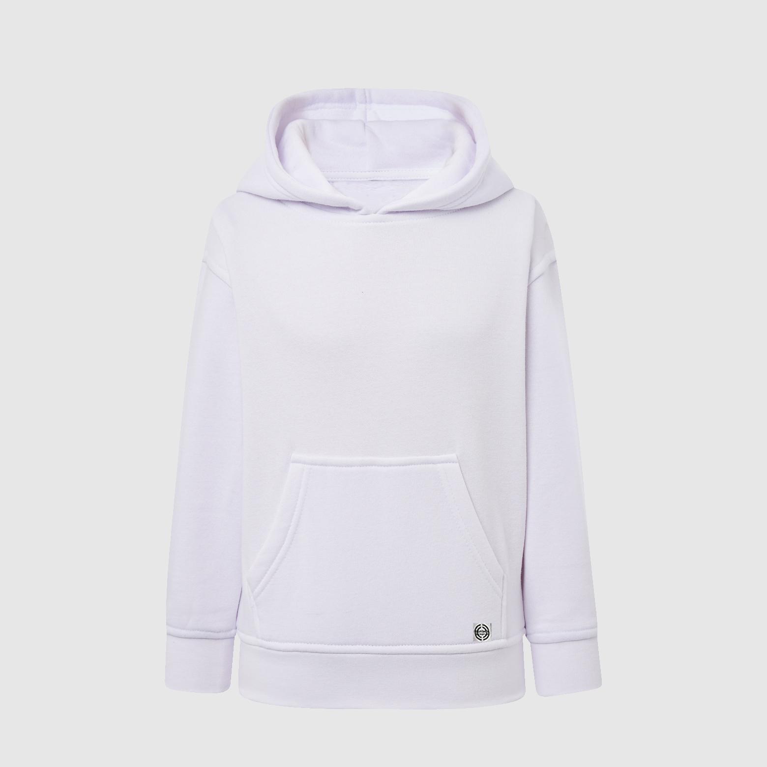 """Sudadera capucha clásica """"inicial pequeña"""" niñ@ color blanco"""