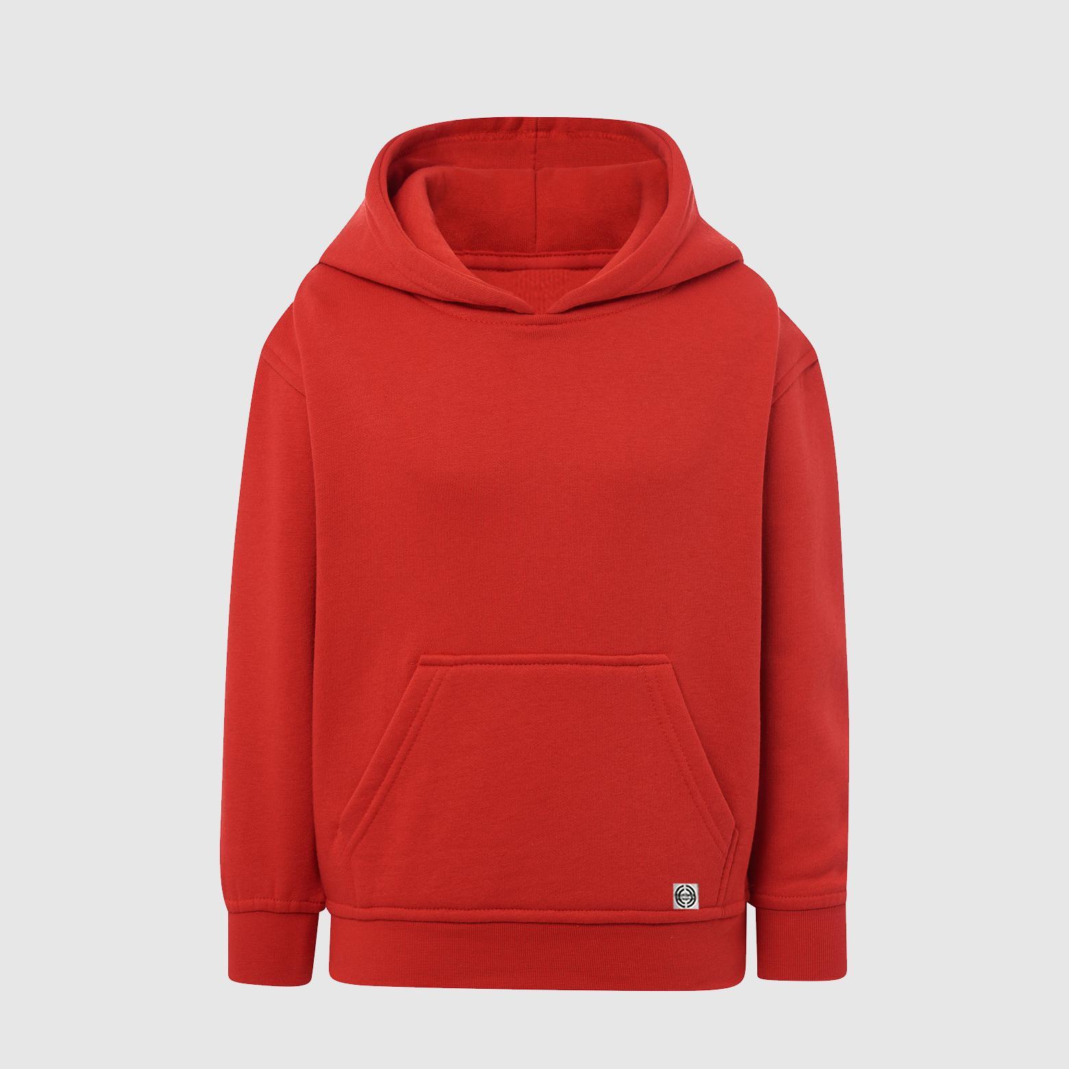"""Sudadera capucha clásica """"inicial grande"""" niñ@ color rojo."""