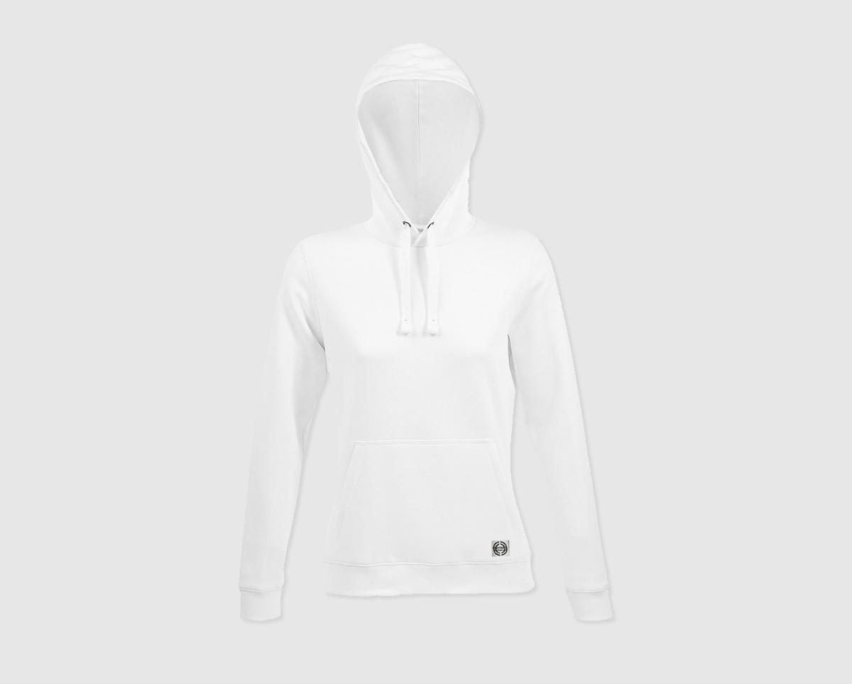 """Sudadera capucha clásica mujer """"inicial pequeña"""" color blanco"""