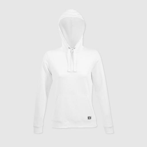 """Sudadera capucha clásica mujer """"inicial grande"""" color blanco"""